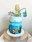 Large milestone fishing mens 70th birthday Card Double sided party Cake Toppers