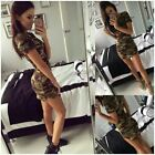 Women Dress Short Sleeve Sexy Mini Dresses women Green Camouflage Print Woman Ve