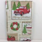 Christmas Vinyl Tablecloth Festive Red Truck Tree Farm Happy Holiday Elrene Asst