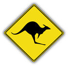 Kangaroo Warning Sign Car Bumper Sticker Decal  - 3'' Or 5''