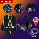 LOT 2500dpi Glaring LED Ergonomic USB Wired Gaming Mouse + MIC Headphone Kit OY