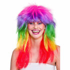 Adult 1980s GLAM RAINBOW WIG Rock Chick Long Hair Carnival Pride Stag Hen Party