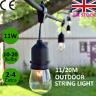 2 x 11m/20m Outdoor Garden Waterproof Festoon Bulb String Lights Christmas Party