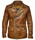 Mens Black 3/4 Motorcycle Biker Long Cow-Hide Leather Jacket/Coat