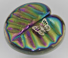 Neo Art Glass rainbow iridescent Lily pad paperweight silver adornment K.Heaton