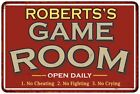 ROBERTSS Game Room Personalized Sign Vintage Look Metal Wall 108120001387
