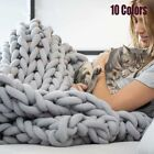 Handmade Chunky Knit Blanket Giant Yarn Weaving Warm Soft Thick Line 120*150cm image