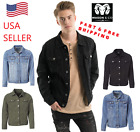 Men's Classic Premium Ripped Jean Jacket Bomber Denim Jacket Trucker Distressed