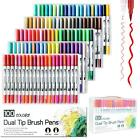 Внешний вид - Colorful Dual Tip Brush Markers Pens Set Art Paint Highlighter Watercolor ink