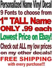 Custom Personalized Vinyl Lettering Name Decal Sticker .99¢--$3.89 Free Shipping