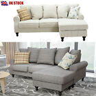 Large Corner Sofa In Grey Beige, A Footstool And 3 Seater, Left Right Swivel