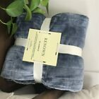 Fleece Heated Throw Rug Snuggle Blanket Winter Bedding Blue Gray RW