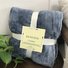 Fleece Heated Throw Rug Snuggle Blanket Winter Bedding Blue Gray OX