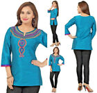 Women Indian Short Kurti Tunic Kurta Shirt Dress Raw Silk Blue Embroidery BD126