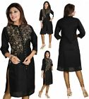 Women Indian Long Black Raw Silk Kurti Tunic Kurta Shirt Dress Embroidery BD345