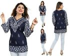 Women Indian Short Kurti Tunic Kurta Shirt Dress Printed 3/4 Sleeves MI518 BLUE