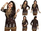 Women Indian Short Kurti Tunic Kurta Printed Top Dress 3/4 Sleeves MI570 BROWN