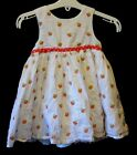 Baby Girls Mothercare White Red Embroidered Strawberry Dress Age 9-12 Months