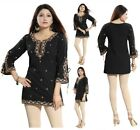 Top Women Short Kurti Tunic Black Embroidery Faux Crepe Kurta Dress PD-04-B