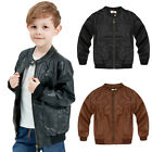 Kids Soft Leather Jacket Boys Girls Trendy Coat Toddler Fashion Motor Jacket