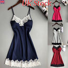Womens Sexy Lingerie Lace V-neck Padded Push-up Strappy Nighty Dress Nightwear