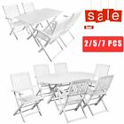 2/5/7 Pcs Outdoor Dining Set Folding Wooden Table Chairs Patio Garden Furniture