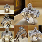 Women Stainless Steel Crystal Band Ring Silver Wedding Band Ring Sz5-11 Us