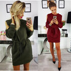 Womens Long Sleeve Casual Cocktail Evening Dress Pullover Shirt O-neck Slim Tops