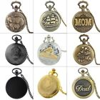 Vintage Steampunk Quartz Pocket Watch Necklace Chain Classic Pendant Gift Retro image