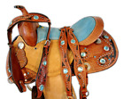 12 13 CUSTOM WESTERN SADDLE BLACK TOOLED BARREL KIDS YOUTH BLUE TRAIL SADDLE