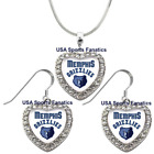 Memphis Grizzlies 925 Necklace / Earrings or Set Team Heart With Rhinestones on eBay