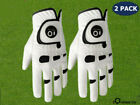 Men's Golf Gloves Leather Ball Marker 2Pack Left Right Hand Handed All Weather
