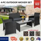 4 Piece Outdoor Furniture Setting Patio Chairs Table Sofa Lounge Rattan Wicker