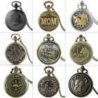Antique Pocket Watch Vintage Design Steampunk Quartz Pendant Necklace Gift Retro image