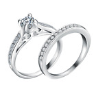 Womens Ladies Crystal Rhinestone Wedding Engagement Ring Band Rings Set Jewelry