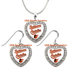 Baltimore Orioles 925 Necklace / Earrings or Set Team Heart With Rhinestones on Ebay