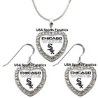 Chicago White Sox 925 Necklace / Earrings or Set Team Heart With Rhinestones on Ebay
