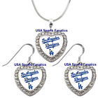 Los Angeles Dodgers 925 Necklace / Earrings or Set Team Heart With Rhinestones. on Ebay