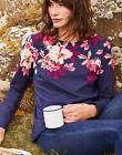 Joules Womens Harbour Printed Jersey Top Shirt in NAVY BIRCHAM BORDER