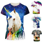 Unicorn 3D Print Womens Mens T Shirt Short Sleeve Graphic Tee Casual Tops S-3XL image