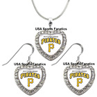 Pittsburgh Pirates 925 Necklace / Earrings or Set Team Heart With Rhinestones. on Ebay