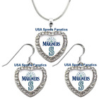 Seattle Mariners 925 Necklace / Earrings or Set Team Heart With Rhinestones on Ebay