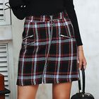 Elegant Front Zipper Skirt Tweed Multi Plaid Winter Autumn Fashion Skirt Women