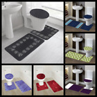 Kyпить 3PC BATHROOM SET BATH RUG CONTOUR MAT TOILET LID COVER COLORS DESIGN 3 STYLES на еВаy.соm