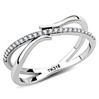 Delicate French Set CZ Open Shank & Accents Stainless Steel Ring Size 5-9