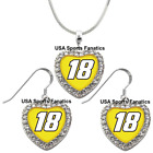 #18 Kyle Busch 925 Necklace / Earrings or Set Team Heart With Rhinestones