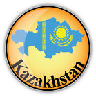 Kazakhstan Glossy Map Flag Car Bumper Sticker Decal - 3'' or 5''