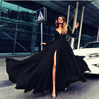 Women's Vintage Long Ball Gown Prom Cocktail Ladies Evening Party Swing Dress UK
