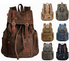 "Women Men 15"" 17"" Laptop Canvas Leather Backpack Travel Rucksack School Satchel"