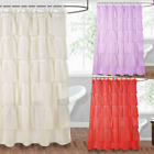 "1PC BATHROOM RUFFLE BATH SHOWER CURTAIN LAYERED VOILE SHEER 72""L SOLID COLORS"